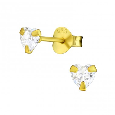 Heart 4mm - 925 Sterling Silver Ear Studs with Zirconia stones A4S21809