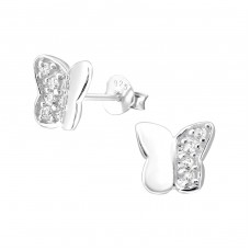 Butterfly - 925 Sterling Silver Ear Studs with Zirconia stones A4S21913