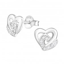 Double Heart - 925 Sterling Silver Ear Studs with Zirconia stones A4S21993