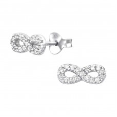 Infinity - 925 Sterling Silver Ear Studs with Zirconia stones A4S21995