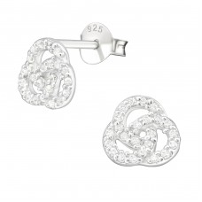 Curl - 925 Sterling Silver Ear Studs with Zirconia stones A4S21997