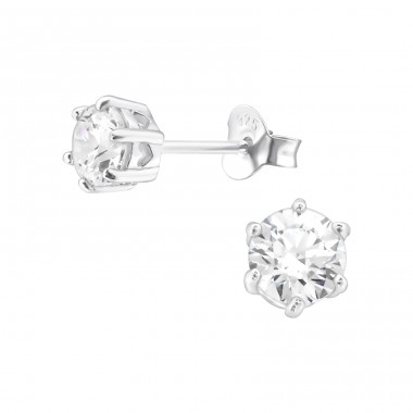 Round 5mm - 925 Sterling Silver Ear Studs with Zirconia stones A4S21998
