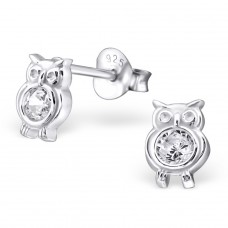 Owl - 925 Sterling Silver Ear Studs with Zirconia stones A4S21999