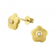 Flower - 925 Sterling Silver Ear Studs with Zirconia stones A4S22847