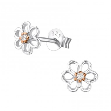 Flower - 925 Sterling Silver Ear Studs with Zirconia stones A4S22858