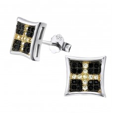 Square - 925 Sterling Silver Ear Studs with Zirconia stones A4S23451