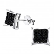 Square - 925 Sterling Silver Ear Studs with Zirconia stones A4S23452
