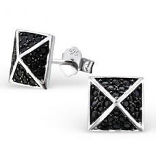 Square - 925 Sterling Silver Ear Studs with Zirconia stones A4S23454