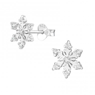 Snowflake - 925 Sterling Silver Ear Studs with Zirconia stones A4S24476