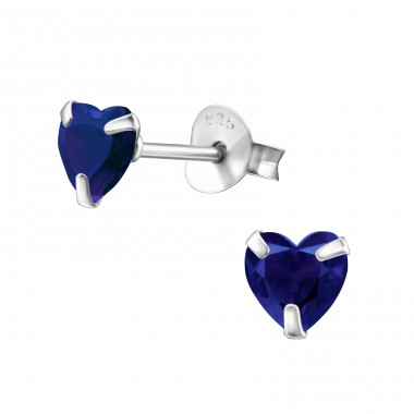 Heart 5mm - 925 Sterling Silver Ear Studs with Zirconia stones A4S24668