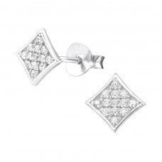 Square - 925 Sterling Silver Ear Studs with Zirconia stones A4S26021