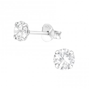 Round - 925 Sterling Silver Basic Ear Studs A4S27193