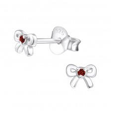 Bow - 925 Sterling Silver Ear Studs with Zirconia stones A4S27232