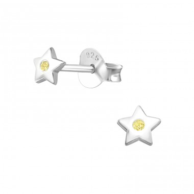 Star - 925 Sterling Silver Ear Studs with Zirconia stones A4S27236