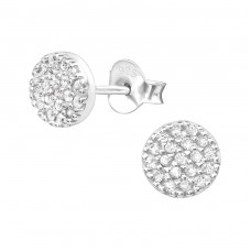 Round - 925 Sterling Silver Ear Studs with Zirconia stones A4S27474