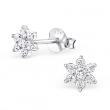 Flower - 925 Sterling Silver Ear Studs with Zirconia stones A4S27476
