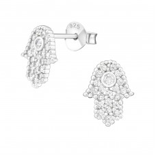 Hamsa - 925 Sterling Silver Ear Studs with Zirconia stones A4S27968