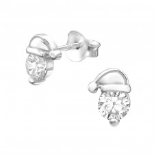 Santa Hat - 925 Sterling Silver Ear Studs with Zirconia stones A4S29098