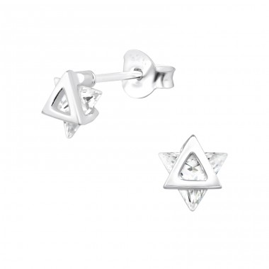 Star - 925 Sterling Silver Ear Studs with Zirconia stones A4S30080