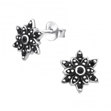 Flower - 925 Sterling Silver Ear Studs with Zirconia stones A4S30081