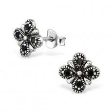Flower - 925 Sterling Silver Ear Studs with Zirconia stones A4S30083