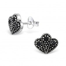 Antique - 925 Sterling Silver Ear Studs with Zirconia stones A4S30086