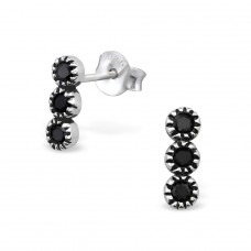 Patterned - 925 Sterling Silver Ear Studs with Zirconia stones A4S30089