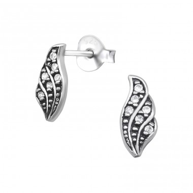 Antique - 925 Sterling Silver Ear Studs with Zirconia stones A4S30090