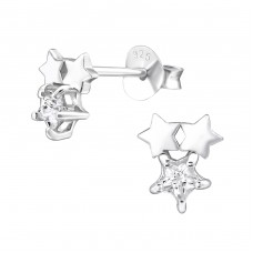 Starry - 925 Sterling Silver Ear Studs with Zirconia stones A4S30275