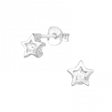 Star - 925 Sterling Silver Ear Studs with Zirconia stones A4S30279