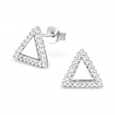 Triangle - 925 Sterling Silver Ear Studs with Zirconia stones A4S30568
