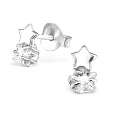 Double Stars - 925 Sterling Silver Ear Studs with Zirconia stones A4S30618
