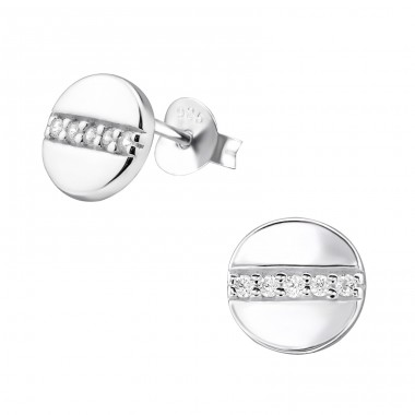 Round - 925 Sterling Silver Ear Studs with Zirconia stones A4S30693