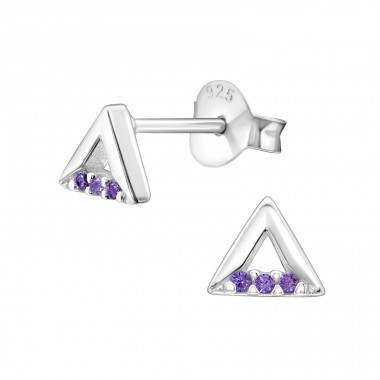 Triangle - 925 Sterling Silver Ear Studs with Zirconia stones A4S30790