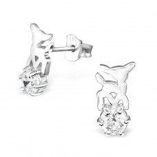 Deer - 925 Sterling Silver Ear Studs with Zirconia stones A4S30791