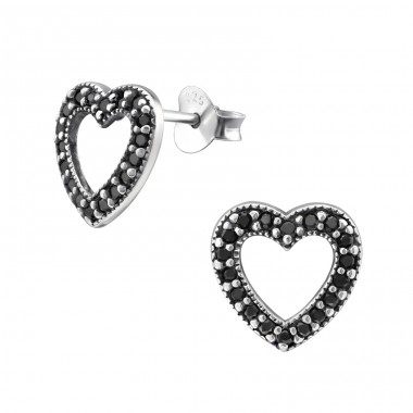 Heart - 925 Sterling Silver Ear Studs with Zirconia stones A4S30795