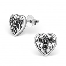 Heart - 925 Sterling Silver Ear Studs with Zirconia stones A4S30798