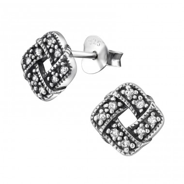 Celtic Knot - 925 Sterling Silver Ear Studs with Zirconia stones A4S30800