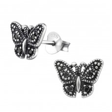Butterfly - 925 Sterling Silver Ear Studs with Zirconia stones A4S30802