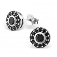 Round - 925 Sterling Silver Ear Studs with Zirconia stones A4S30803