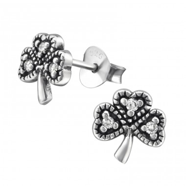 Clover - 925 Sterling Silver Ear Studs with Zirconia stones A4S30806