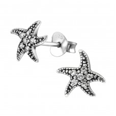 Starfish - 925 Sterling Silver Ear Studs with Zirconia stones A4S30807
