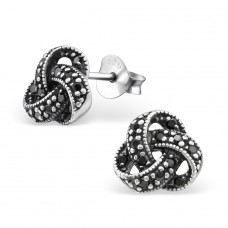 Knot - 925 Sterling Silver Ear Studs with Zirconia stones A4S30808