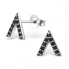 Triangle - 925 Sterling Silver Ear Studs with Zirconia stones A4S30809