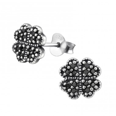 Lucky Clover - 925 Sterling Silver Ear Studs with Zirconia stones A4S30811