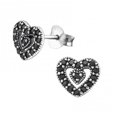Heart - 925 Sterling Silver Ear Studs with Zirconia stones A4S30813