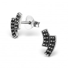 Bars - 925 Sterling Silver Ear Studs with Zirconia stones A4S30816