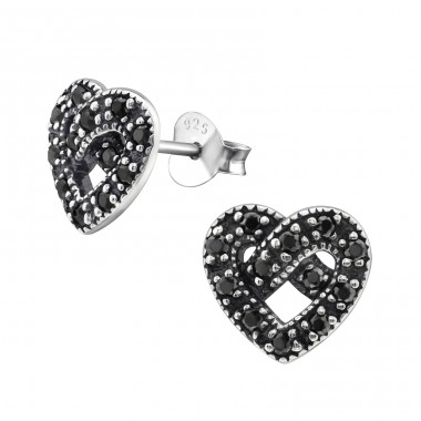 Heart - 925 Sterling Silver Ear Studs with Zirconia stones A4S30817