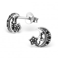 Moon - 925 Sterling Silver Ear Studs with Zirconia stones A4S30819