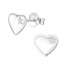 Heart - 925 Sterling Silver Ear Studs with Zirconia stones A4S3082